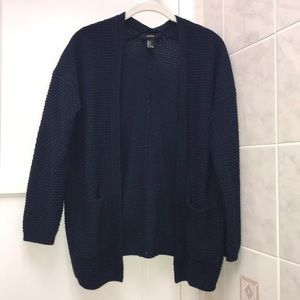 Forever 21 Navy Blue Knit Cardigan Sweater